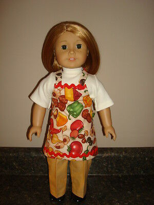 Handmade Doll Clothes fits/for 18 in. American Girl ~ Veggie Pants / Apron Set