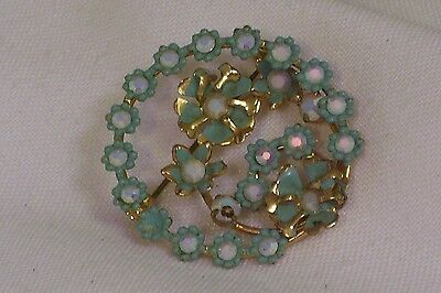 Vintage Brooch Pin Gold Tone Pale Blue Flowers Crystals Signed AUSTRIA (D65)