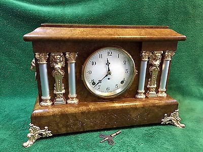 Antique Seth Thomas Adamantine Mantle Clock, Rare Figurine Ornamentation