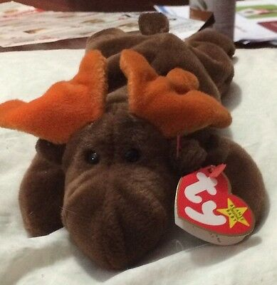 Chocolate the Moose Ty Beanie Baby Org. 1993 w/P.E. Pellets Super Rare