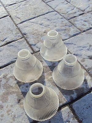 4 Vintage Antique Matching Holophane Style Industrial Age Light Lamp Shades