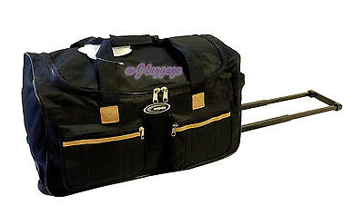 "New Black 20""rolling duffle bag carry on luggage travel bag in-line skate wheels"