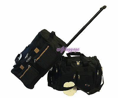 "Black 18"" 20"" 2Pc 40lb Cap Black Carry on set wheeled rolling duffle bag luggage"