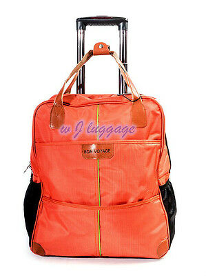 "Orange 20""rolling duffle bag carry on luggage travel bag in-line skate wheels"