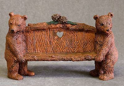 "Brown Bear Bench Miniature Love Seat 6"" long - Business Card Holder NIB"