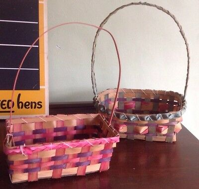 Vintage Mid Century Easter Baskets Woven Pink Purple Green Lot of 2