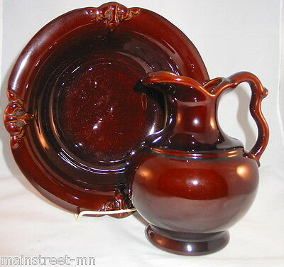 Haeger 3055 Deep Umber Rich Brown Small Basin & Pitcher Gorgeous!