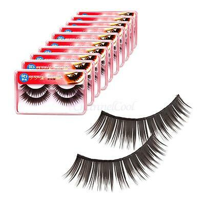 New 20 Pairs Soft Long Thick Synthetic Fiber False Eyelashes Black E-49
