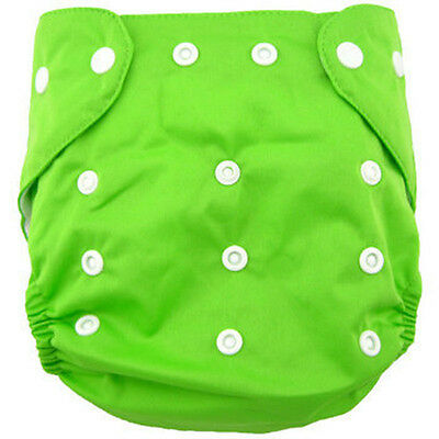 2015 Newborn Baby Cloth Diaper Cover Adjustable Reusable Washable Nappy Green