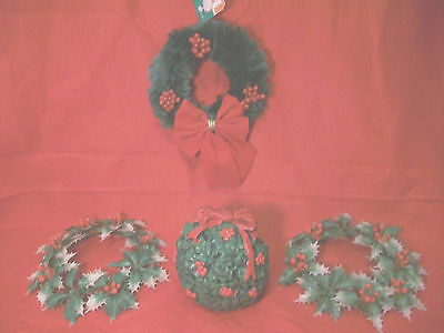 4PC CHRISTMAS BERRY MINIATURE WREATH VELVET BOW HOLLY CANDLE RINGS &SOLID CANDLE