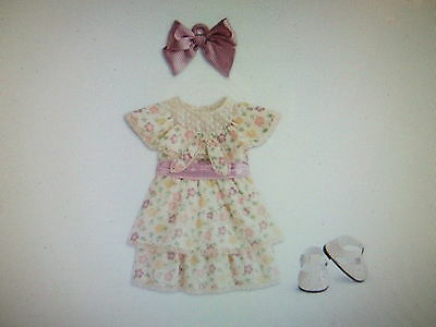 """American Girl KIT'S SUMMER DRESS Outfit for 18"""" Dolls Shoes Satin Bow NEW"""