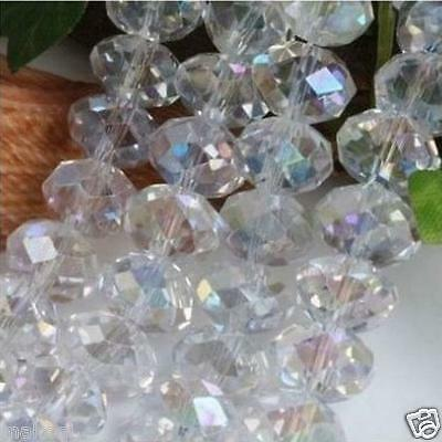 98pcs 6mm Glass Crystal Loose Beads rondelle faceted round AB red Jewelry White