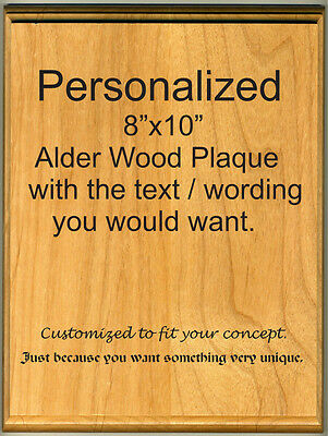 """8""""x10"""" Personalized / Customized Plaque Laser Engraved  Alder Wood"""
