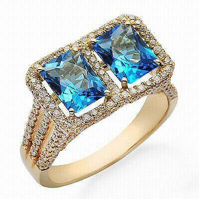 New Solid 14K Yellow Gold Genuine Natural Diamond Blue Topaz Engagement Ring