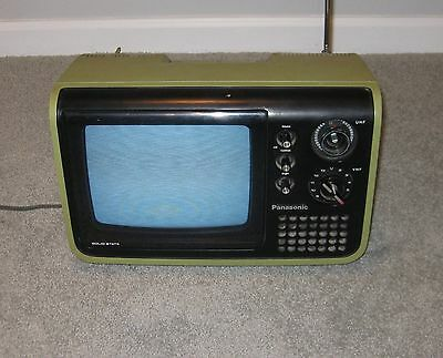 "Vintage Panasonic TV Mod Olive Green Television 9"" Screen TR-729U Solid State"