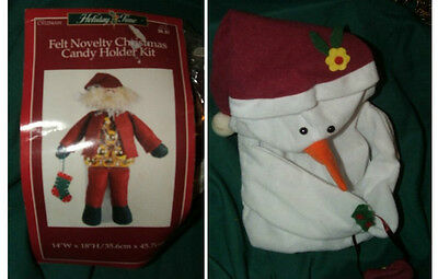 2 Christmas Holiday Novelty Various Craft Kits A Candy Holder & A Snowman Plush