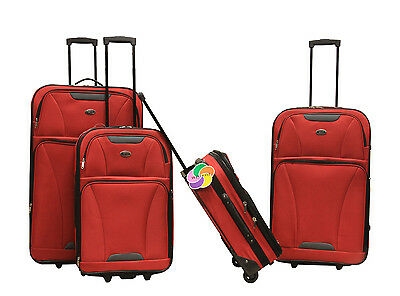 Red 4 piece Expandable Lightweight Rolling Softside Luggage Set