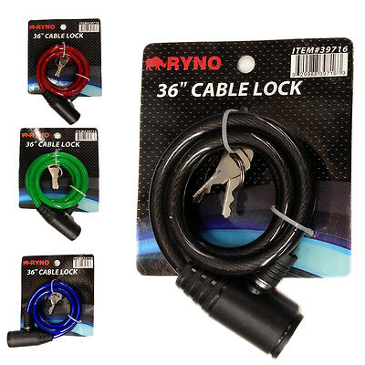 """36"""" Bicycle Bike Anti-Theft  Security Steel Cable Lock Chain 4 Colors With Keys"""
