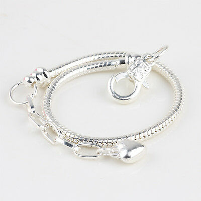 925 Sterling Silver Snake Chains Fit European Beads Charm bracelets Fashion