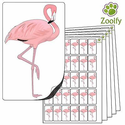 480 Flamingo Stickers (38 x 21mm) Quality Self Adhesive Animal Labels By Zooify.