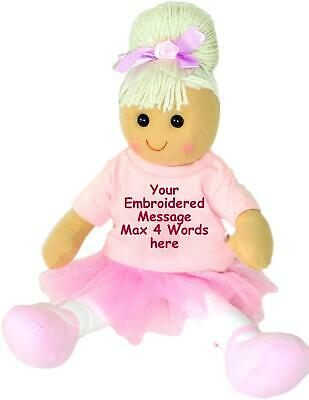 Personalised Rag Doll Birthday Christening Flower Girl Bridesmaid New Baby Gift