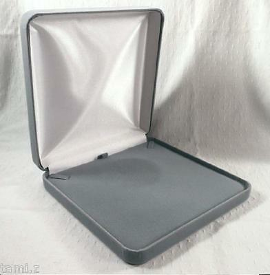 DELUXE XL PLUSH GRAY VELVET JEWELRY GIFT BOX FOR NECKLACES++