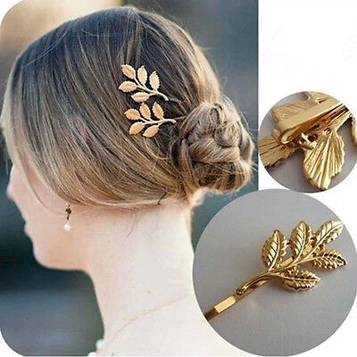 1 PCS New Fashion Hairwear Gold Plated Leaf Design Hairpin For Girl Ladies' Gift