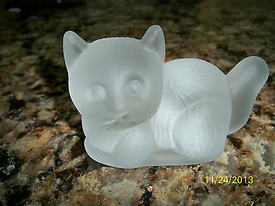 Cat Paperweight in Frosted Glass