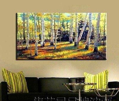 Forest,HUGE OIL PAINTING MODERN ABSTRACT WALL DECOR ART CANVAS 24x48(No stretch)