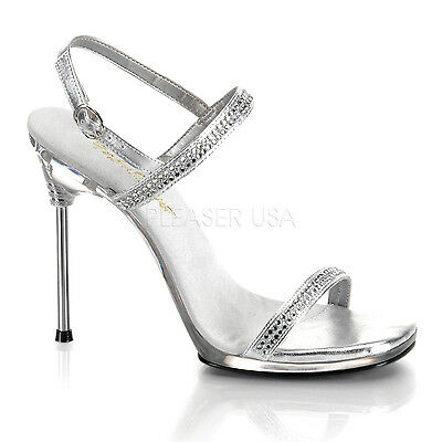 "PLEASER CHIC17/S/RS Sexy 4 1/2"" High Heels Silver  Prom Evening Sandals Shoes"