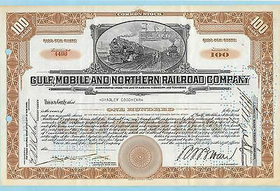Gulf, Mobile and Northern Railroad Company, share certificate dated 1930.
