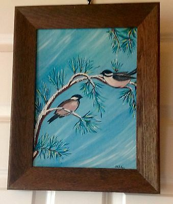 """Beautiful Signed Oil Painting Of Two Chickadees On A Snow Covered Branch 15""""x12"""""""