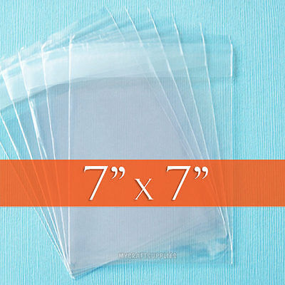 "200 Square, Clear Cello Bags, 7x7 inch Resealable 1.6 mil OPP Poly - 7"" x 7"""