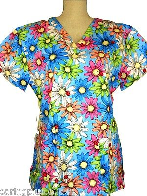 Cute Scrubs Top Big Bold Beautiful Flowers Floral Blue SMALL CP