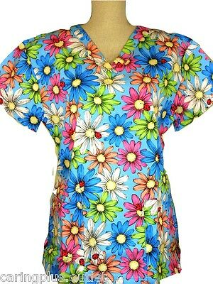 Cute Scrubs Top Big Bold Beautiful Flowers Floral Blue LARGE CP