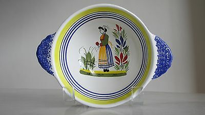 HENRIOT QUIMPER Breton Woman LUG HANDLE CEREAL BOWL *Unused* FREE SHIPPING