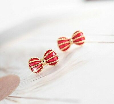 Free Shipping! Elegant &Nice Womens 14K Yellow Gold Plated Earrings Stud M10 Red