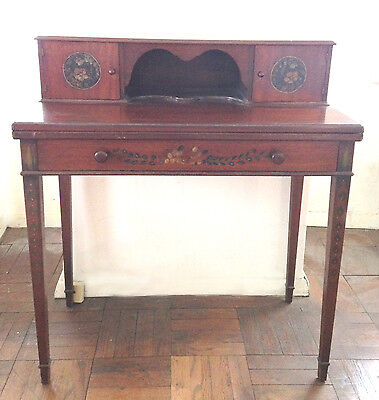 Fabulous ANTIQUE Hand Painted SMALL Wood WRITING DESK unfolds