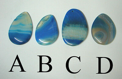 Choice of 4 : BLUE dragon Veins banded Agate pendant bead DIY wire wrap