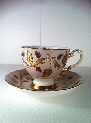 Tuscan England Cup & Saucer Bone White Black Gold Ribbon Leaf Design EUC