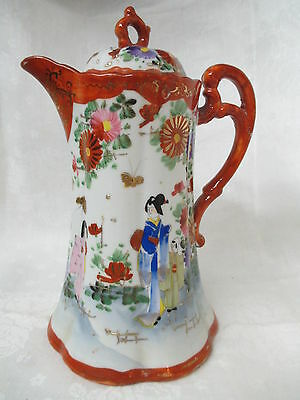 Antique Japan Kutani hand painted porcelain Chocolate Coffee pot Geishas Signed