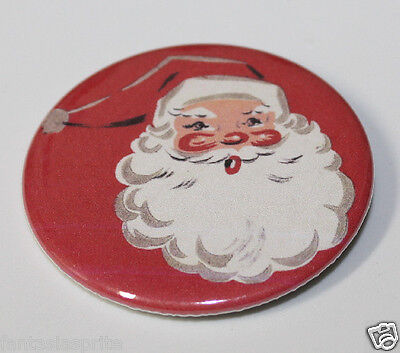 SANTA CLAUS PIN BUTTON Vintage St. Nick Christmas Art (RED) Pinback Christmas