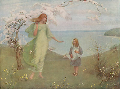 """THOMAS MILLIE DOW 1902 Oil Painting """"A VISION OF SPRING"""" Vintage 1931 Art Print"""