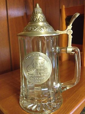 Very Rare,Matt's Brewery German Made Stein,Glass With Zinn Pewter Lid And Emblem