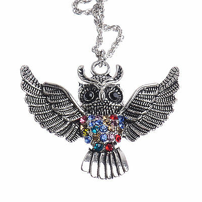 Vintage Cute Tibetan Silver Open Wings Fly Owl Colorful Crystal Pendant Necklace