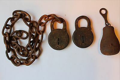 "Lot of 2- Antigue Miller SIX LEVER LOCKS, 1- 496gram scale weight, 1- 25"" chain"