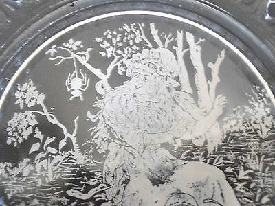 Antique Etched Glass Childs Plate Little Miss Muffet Spider Nursery Rhyme