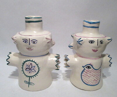 2 SIGNED ROUL STRYK HOLLAND STUDIO ART POTTERY CANDLE HOLDER FIGURE SCULPTURE