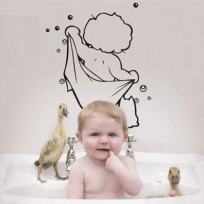 Hot Waterproof Bathroom Quote Wall Decal Decor Room Stickers Vinyl Mural Home