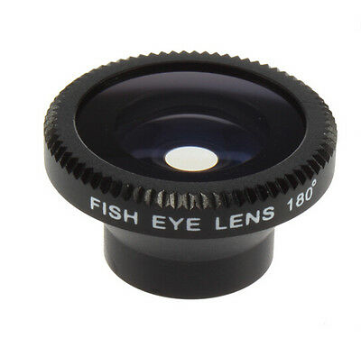 Magnetic Wide 180°Detachable Fish Eye Lens for iPhone 4 4G 4S CellPhone black